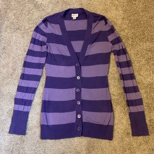 Purple Striped Mossimo Sweater Cardigan